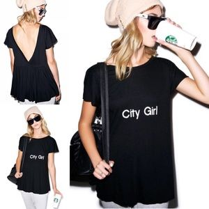Wildfox City Girl Victorian Tee Size XS Black NWT